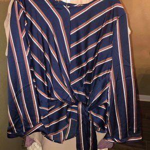 navy burgundy strip front tie top